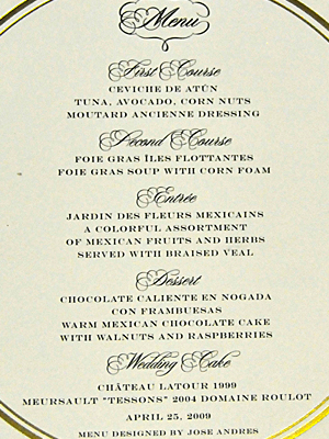 wedding menu card