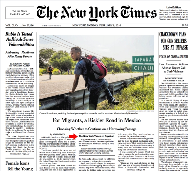 Behold: Spanish text above the fold